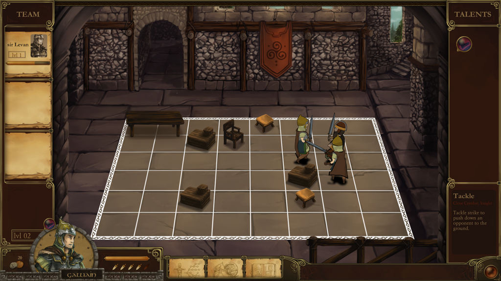 Early screenshot of the combat